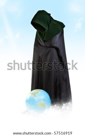Creator of the Universe. Demiurge man with global ball - stock photo