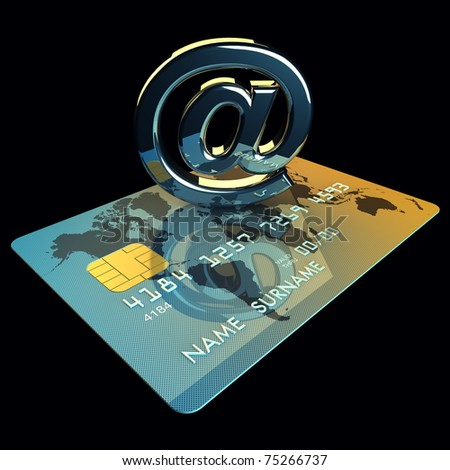 Credit card and arobase sign on black background , 3d illustration