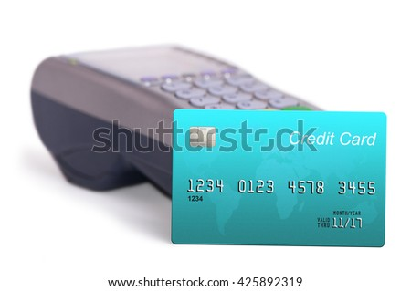 Credit card and card reader isolated on white background