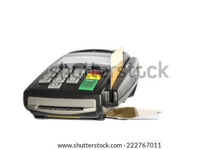 Credit card and card reader machine , Isolated on white background - stock photo