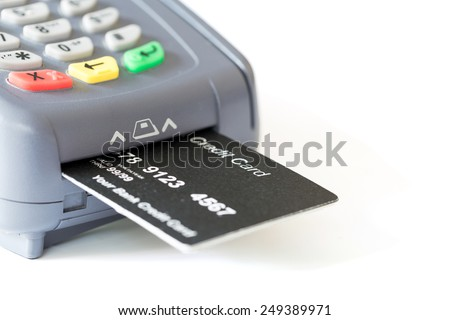Credit card and card reader on white background with copyspace - stock photo