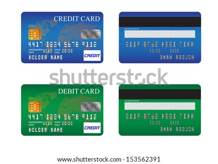 credit card and debit card - stock photo