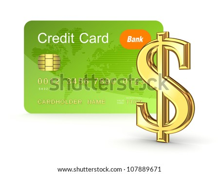 Credit card and dollar sign.Isolated on white background.3d rendered.