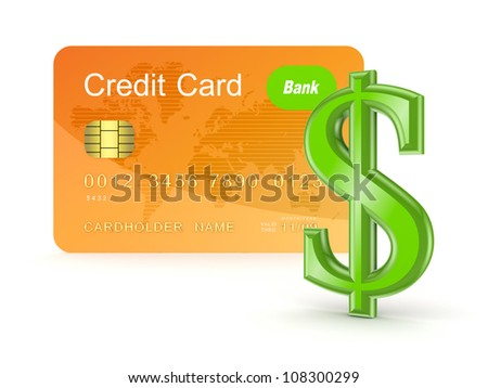 Credit card and dollar sign.Isolated on white background.3d rendered. - stock photo