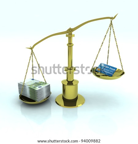 credit card and euro bank notes on golden balance scale - stock photo
