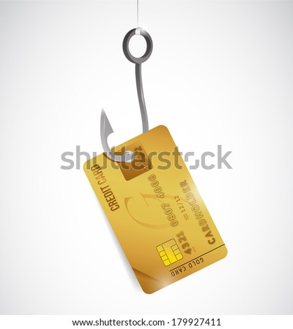 credit card and hook illustration design over a white background - stock photo