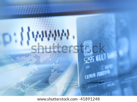 Credit card and internet browser background - stock photo