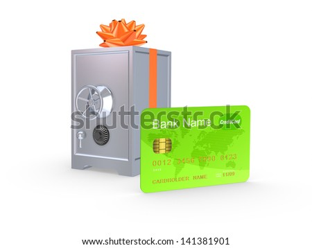 Credit card and iron safe.Isolated on white.3d rendered. - stock photo