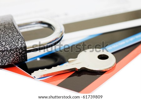 credit card and keys - security concept - stock photo