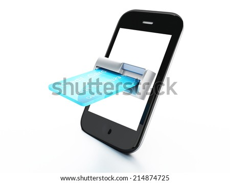 credit Card and mobile phone. Online payment concept