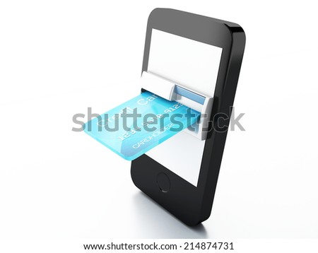 credit Card and mobile phone. Online payment concept - stock photo