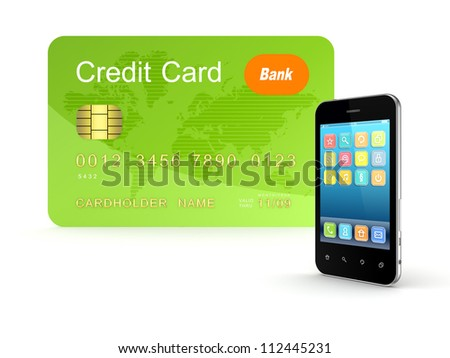 Credit card and modern mobile phone.Isolated on white background.3d rendered. - stock photo