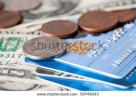 credit card and money - stock photo