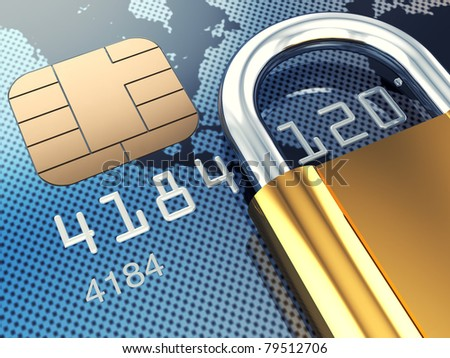 Credit card and padlock, 3d illustration - stock photo
