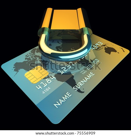 Credit card and padlock , safe banking ,3d illustration - stock photo
