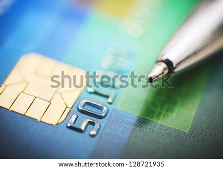 Credit card and pen close up - stock photo