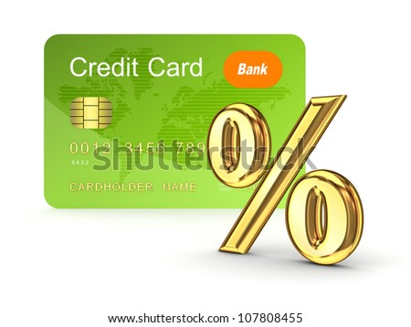Credit card and percents symbol.Isolated on white background.3d rendered. - stock photo