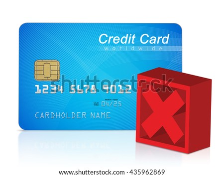 Credit card and red cross mark - stock photo
