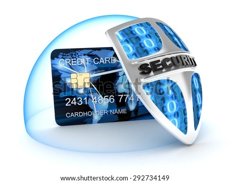 Credit card and security (done in 3d)  - stock photo