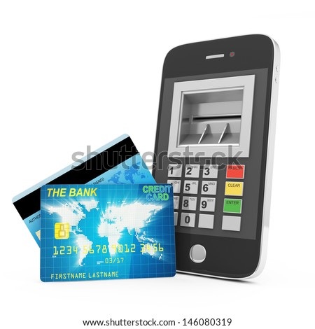 Credit Card and Smart Phone isolated on white background. Mobile Banking Concept - stock photo