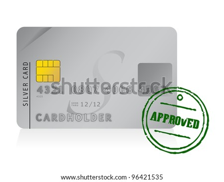 credit card approved illustration design over white - stock photo