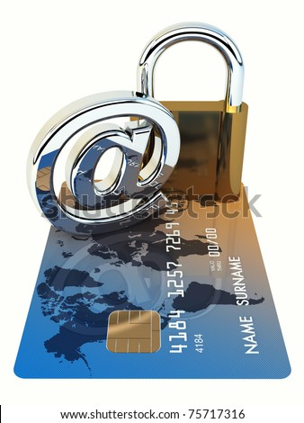 Credit card ,arobase sign and a padlock on white background , 3d illustration - stock photo