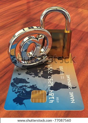 Credit card ,arobase sign and a padlock on wooden table , 3d illustration - stock photo