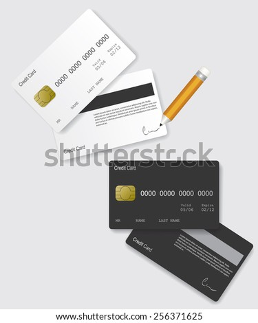 Credit card black and white - stock photo