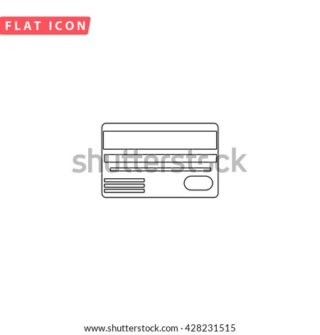 Credit card. Black outline simple pictogram on white. Line icon - stock photo
