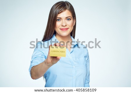 Credit card business woman holding. Smiling face.  - stock photo