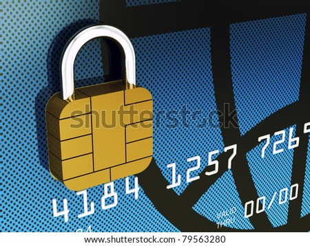 Credit card chip as padlock , 3d illustration - stock photo