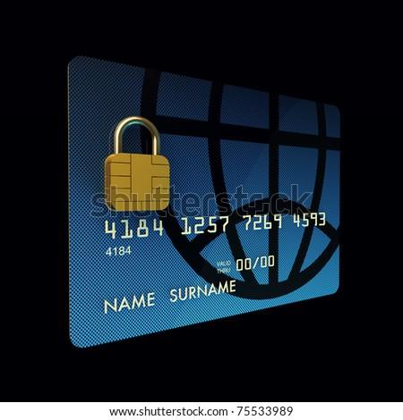 Credit card chip as padlock ,safe banking , 3d illustration - stock photo
