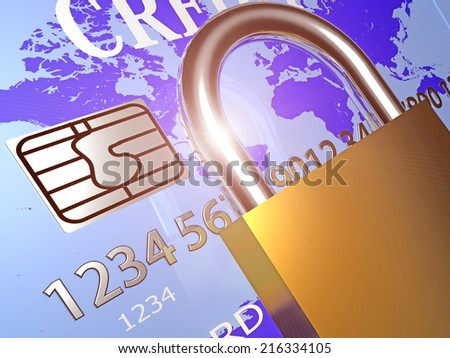 credit card chip close up, ray, and padlock. data security, safety - stock photo
