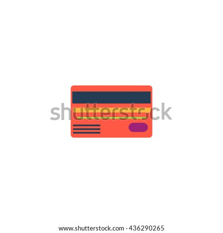 Credit card. Color simple flat icon on white background - stock photo