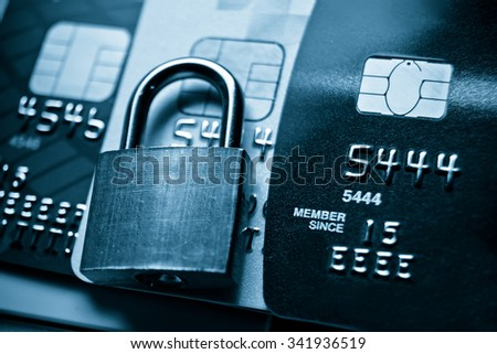 Credit card data security concept / Data encryption on credit card - stock photo