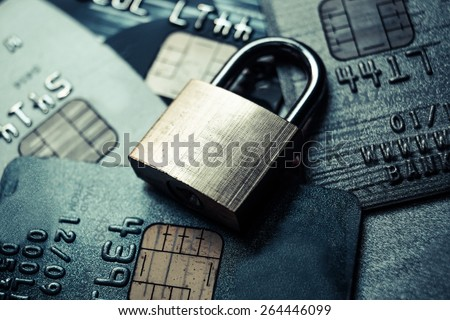 credit card data security / credit card data encryption - stock photo