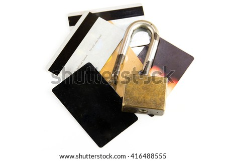 credit card data with Old Broken padlock - stock photo