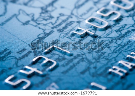 credit card detailed, shallow DOF, focus on digit 4 - stock photo