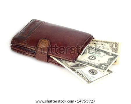 credit card,dollars and wallet on white background