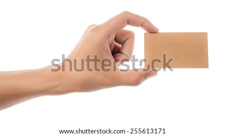 Credit card female hand holding - stock photo
