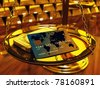 Credit card ,gold ingots and brass scale , 3d illustration - stock photo
