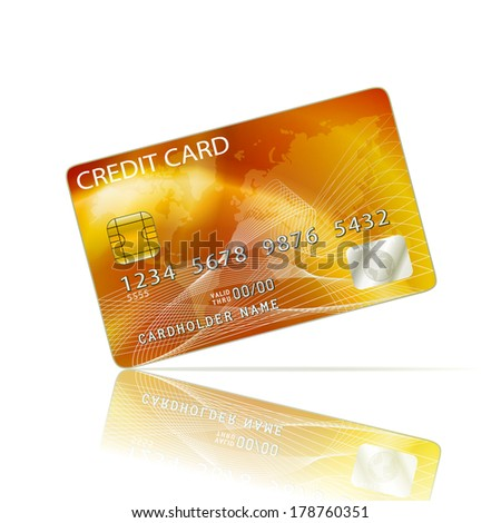 Credit Card Icon Isolated on White. Raster version