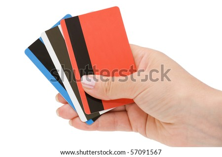 credit card in a female hand - stock photo