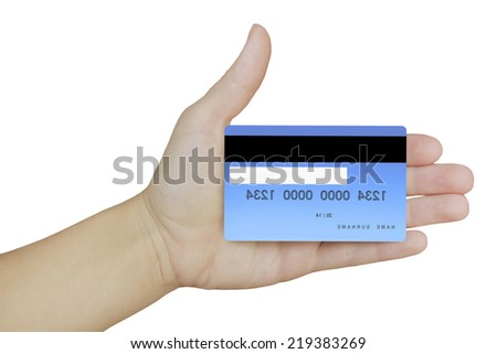 credit card in hand on isolated white background
