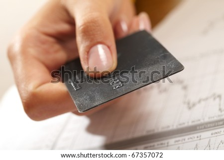 credit card in human hand - stock photo