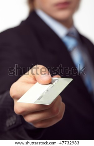 Credit card in the hand - stock photo