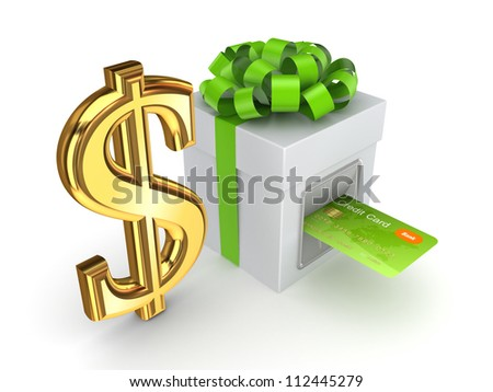 Credit card inserted in a gift box and dollar sign.Isolated on white background.3d rendered. - stock photo