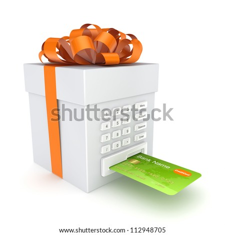 Credit card inserted in a gift box.Isolated on white background.3d rendered. - stock photo