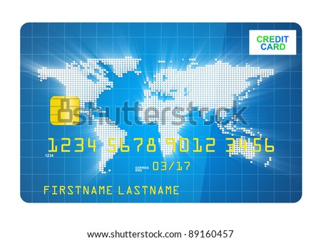 Credit Card isolated on white background - stock photo