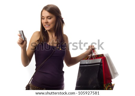 Credit Card Limit Hit - Girl on a shopping spree forgetting about her credit card limit for a moment, maxing out her bank account balance - stock photo